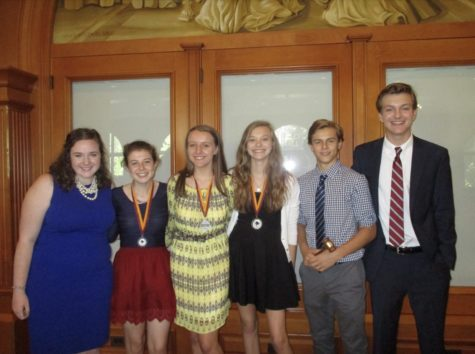 Committee chairs pose with recognized delegates who received awards for their performance in FRESHMUN. From left: Delaney Coyne '19, Triona O'Brion '20, Anastasiya Shybitov '20, Katherine Hand '20, Andrew Salbego '20, and Jack Nash '20. Courtesy of Ms. Haleas.