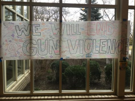 "A poster in the link reading ""We Will End Gun Violence."" Courtesy of Elizabeth Karlos '19."