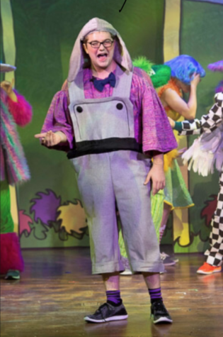 Kane Layng '19 performs as Horton, the male lead in Seussical
