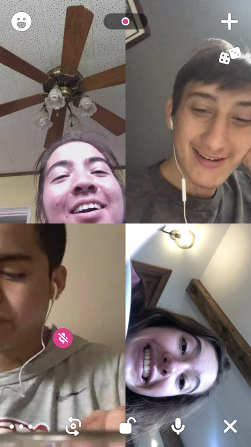 Nevin and friends on Houseparty.