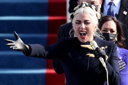 Lady Gaga performing at the Biden Inauguration.