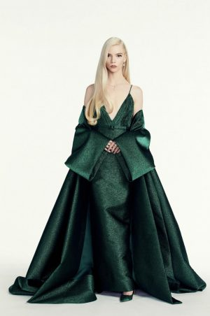 Anya Taylor-Joy in her stunning emerald Golden Globes dress.